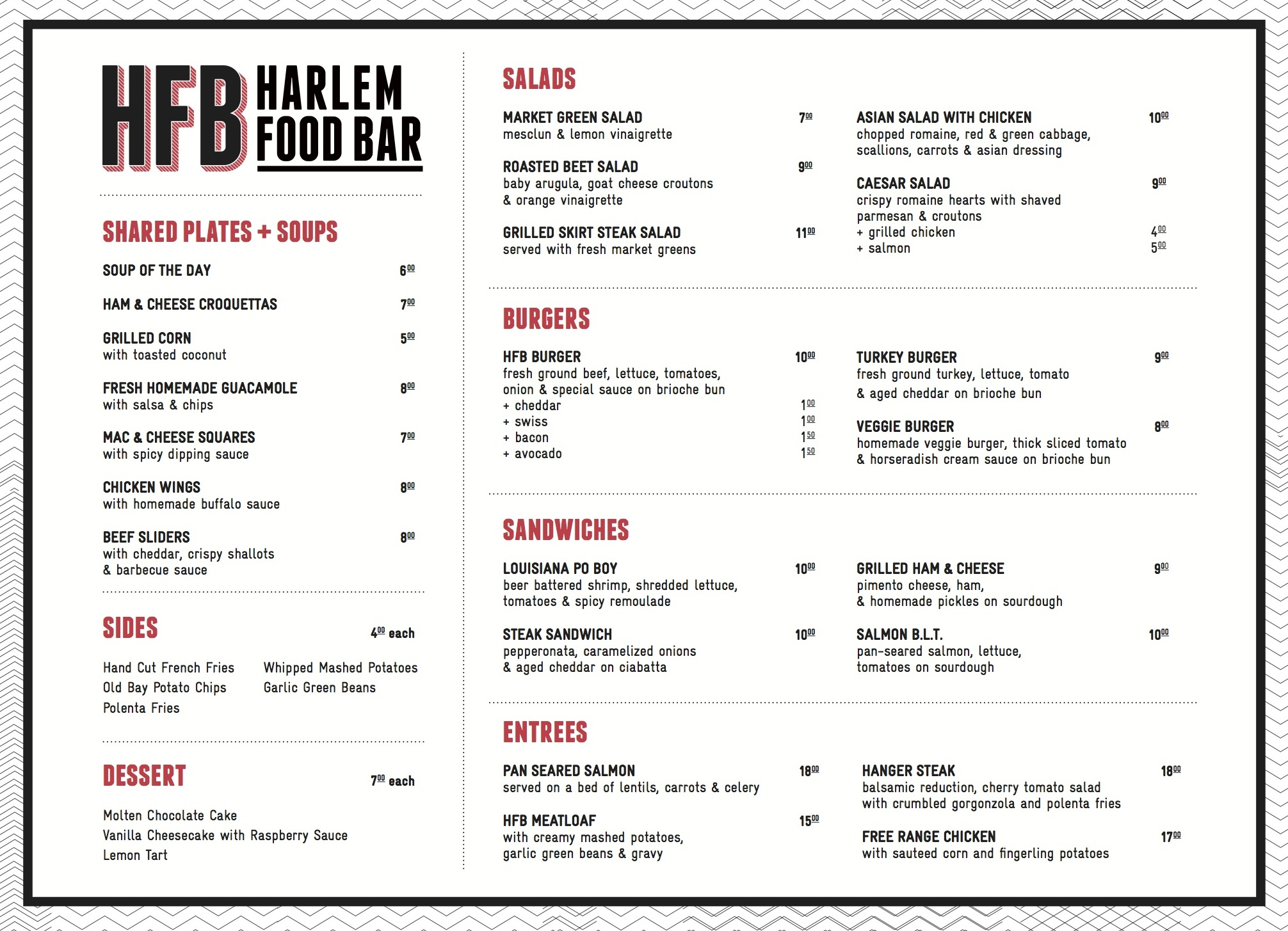 Take a look at harlem food bar s drink and food menu for Food bar drinking game