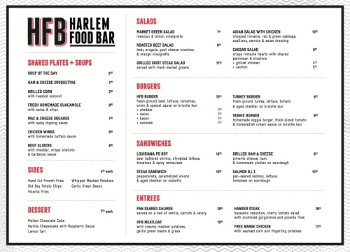 Take a look at harlem food bar s drink and food menu for Bar 88 food menu